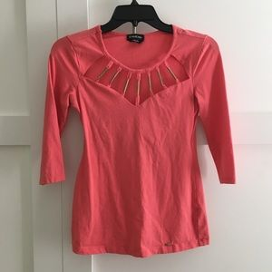 Bebe coral stretchy top